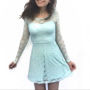 Forever 21 Teal Lace Mini Dress